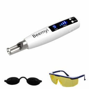 Handheld Picosecond Pen for Tattoo Scar Freckle Beauty Device with Safety Glasses and Eye Shield
