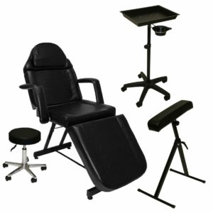 LCL Beauty Complete Tattoo Package Tattoo Bed, Artist Chair, Portable Tray